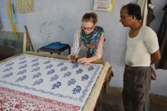 Leanne and her block printing teacher
