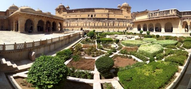 Amer Fort garden panorama