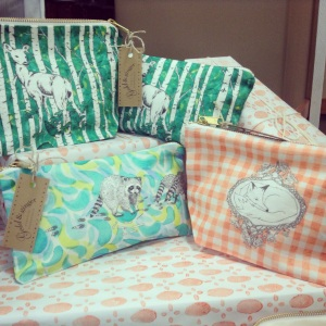Make up bags and pencil cases on display at Busy Hands Sale